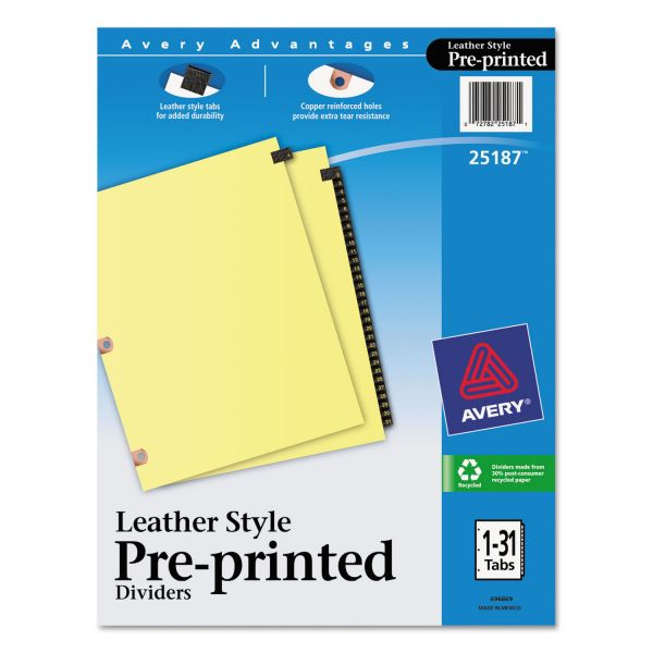 Avery Leather Style Numbered Tab Index Dividers
