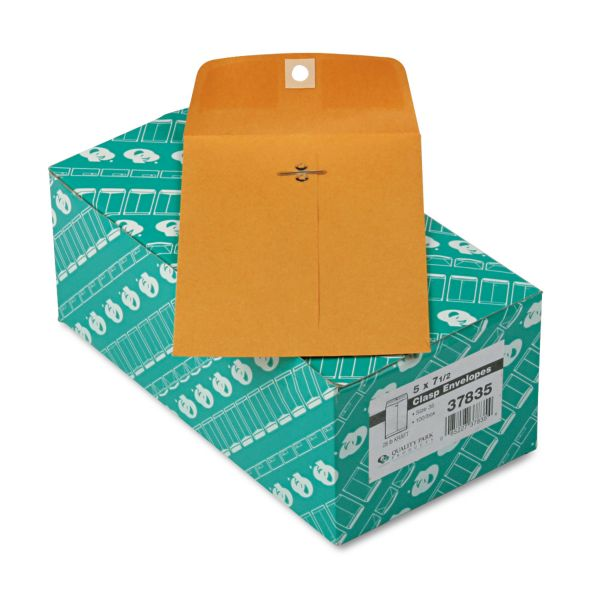 "Quality Park Gummed 5"" x 7 1/2"" Clasp Envelopes"