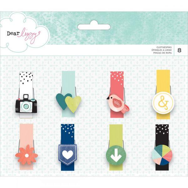 Dear Lizzy Saturday Icon Clothespins 8/Pkg