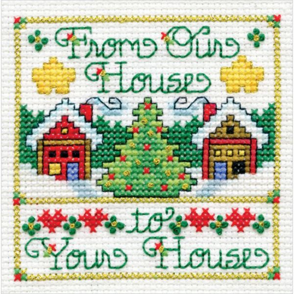 Our House W/Printed Mat Mini Counted Cross Stitch Kit