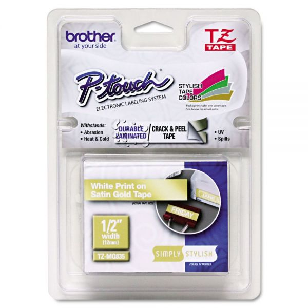 "Brother P-Touch TZ Standard Adhesive Laminated Labeling Tape, 1/2"" x 16-2/5 ft, White/Satin Gold"