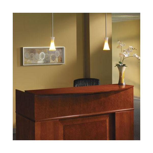 Tiffany Industries Sorrento Reception Desk Screen With Veneer Counter, 72w x 38-1/2d x 15-1/4h