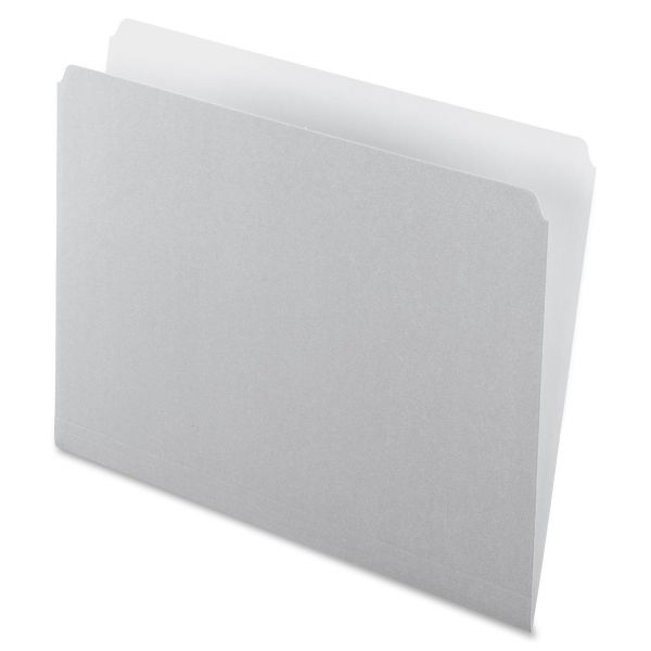Pendaflex Colored File Folders, Straight Cut, Top Tab, Letter, Gray/Light Gray, 100/Box