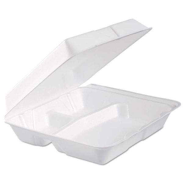 Dart Foam Hinged Lid Container, 3-Comp, 9.3 x 9 1/2 x 3, White, 100/Bag, 2 Bag/Carton