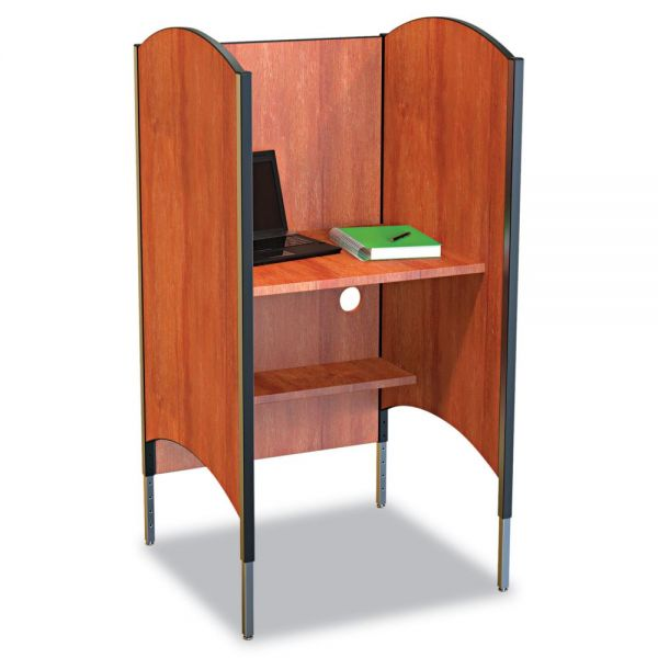 BALT Height-Adjustable Carrel, Laminate, 31w x 30d x 57-1/2 to 69-1/2h, Cherry