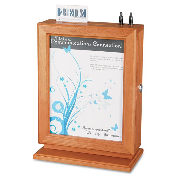 Safco Customizable Wood Suggestion Box, 10 1/2 x 5 3/4 x 14 1/2, Cherry