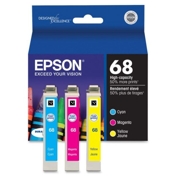 Epson 68 Cyan/Magenta/Yellow Ink Cartridges (T068520)