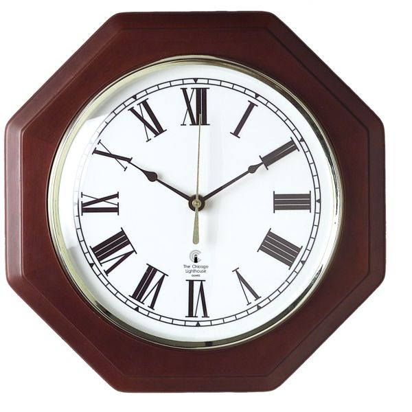 Chicago Lighthouse Octagon Mahogany Frame Wall Clock