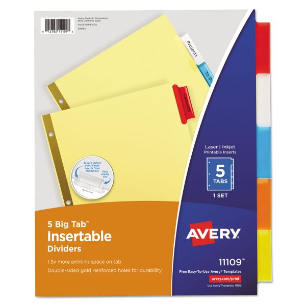 Avery Insertable Big Tab Dividers, 5-Tab, Multi-color Tab, Letter, 1 Set