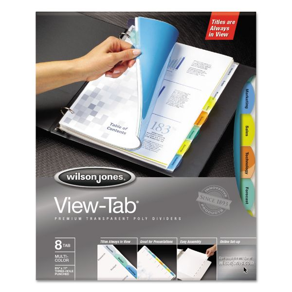 Wilson Jones View-Tab Transparent Index Dividers, 8-Tab, Multi-color Tab, Letter, 5 Sets