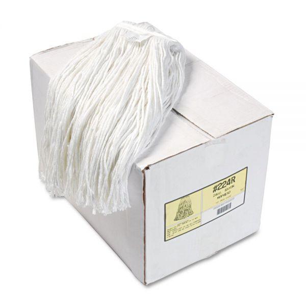 Boardwalk Premium Cut-End Wet Mop Heads, Rayon, 24oz, White, 12/Carton