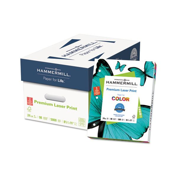 Hammermill Laser Print 3-Hole Punched Office Paper, 98 Brightness, 24 lb, 8 1/2 x 11, White, 500 Sheets/Ream