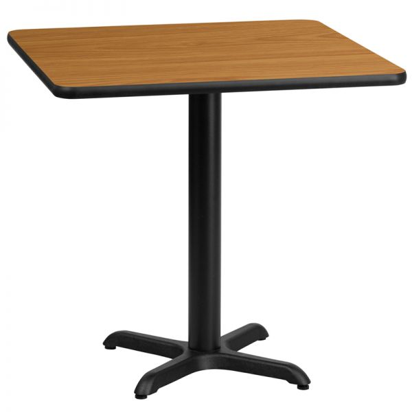 Flash Furniture 30'' Square Natural Laminate Table Top with 22'' x 22'' Table Height Base