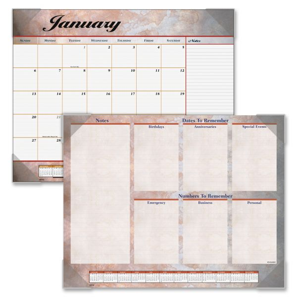 Visual Organizer Marbleized Monthly Desk Pad Calendar