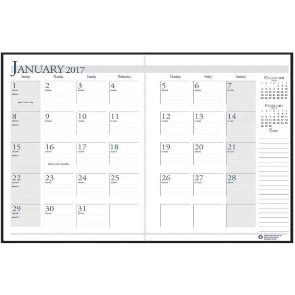 House of Doolittle Ruled 14-Month Planner with Stitched Leatherette Cover, 7 x 10, Black
