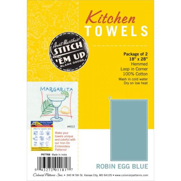 "Stitch 'Em Up Hemmed Color Dyed Kitchen Towels 18""X28"" 2/Pkg"
