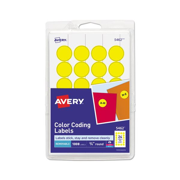"Avery Printable Removable Color-Coding Labels, 3/4"" dia, Yellow, 1008/Pack"