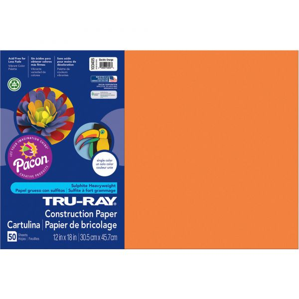Tru-Ray Heavyweight Orange Construction Paper