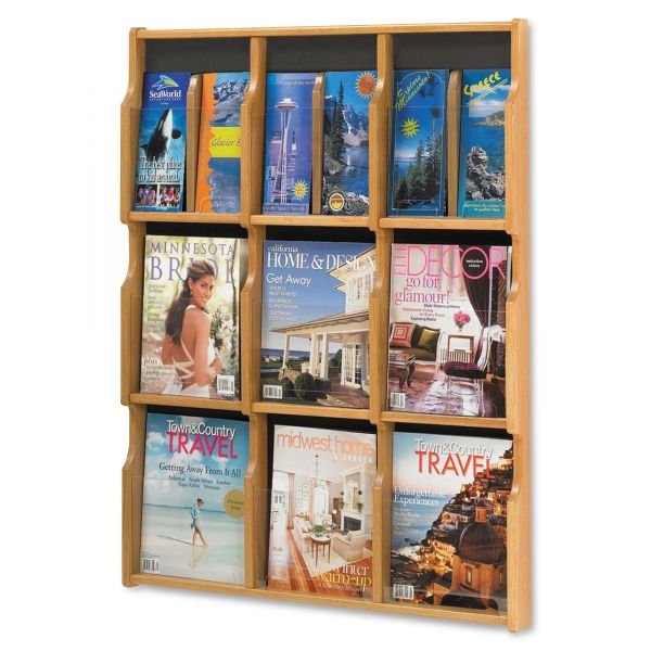 Safco Expose Adj Magazine/Pamphlet Nine Pocket Display, 29-3/4w x 38-1/4h, Medium Oak