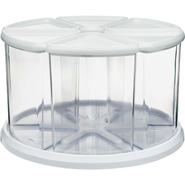 deflecto Six Canister Carousel Organizer, Plastic, 11 1/8 x 11 1/8, White/Clear