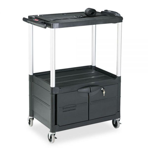 Rubbermaid Media Master AV Cart With Cabinet, Three Shelves, 18-3/4 x 32-3/4 x 42, Black
