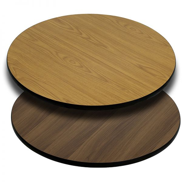 Flash Furniture 36'' Round Table Top with Natural or Walnut Reversible Laminate Top