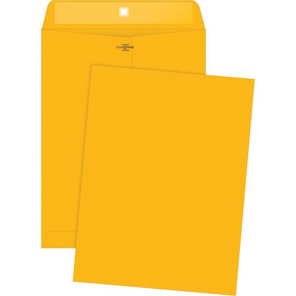 "Business Source Gummed 9 1/2"" x 12 1/2"" Clasp Envelopes"