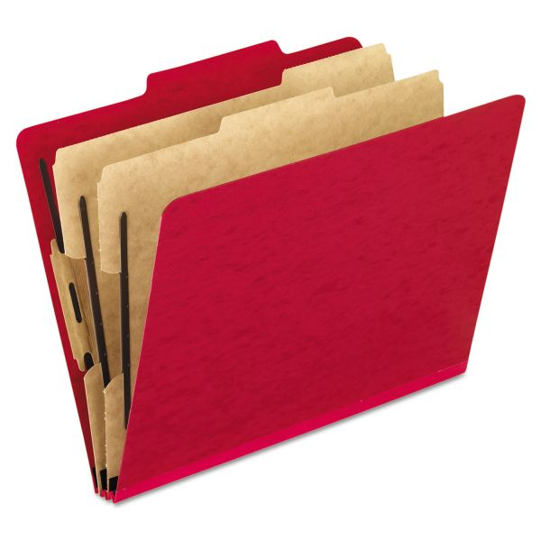 Pendaflex Six-Section Colored Classification Folders, Letter, 2/5 Tab, Scarlet, 10/Box