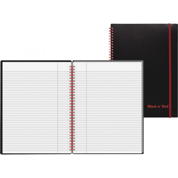 Black n' Red Wirebound Poly Notebook w/front Pkt
