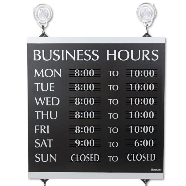 Headline Sign Century Series Business Hours Sign, Heavy-Duty Plastic, 13 x 14, Black