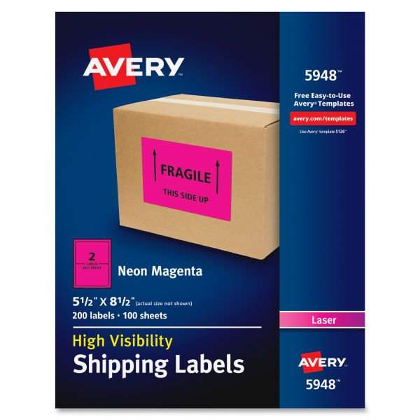 Avery 5948 Neon Shipping Labels