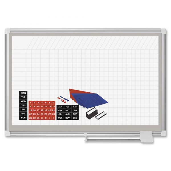 MasterVision All Purpose Magnetic Planning Board, 1 x 2 Grid, 36 x 24, Aluminum Frame