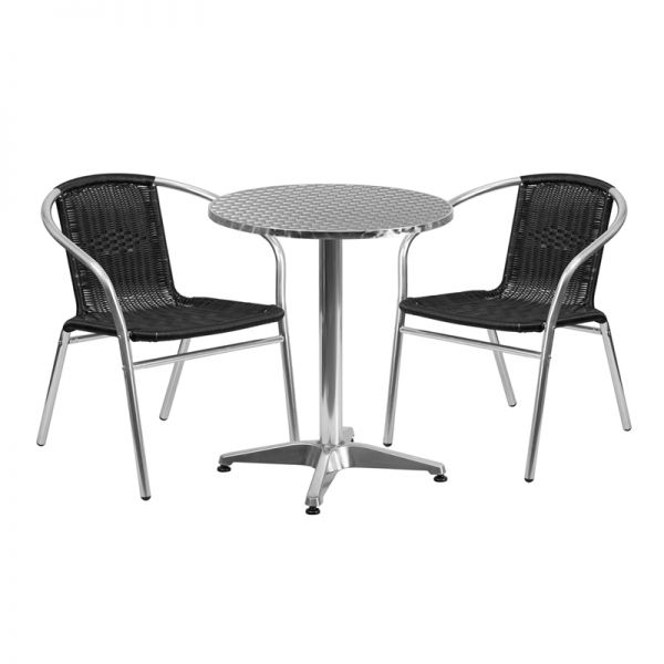 Flash Furniture 23.5'' Round Aluminum Indoor-Outdoor Table with 2 Black Rattan Chairs