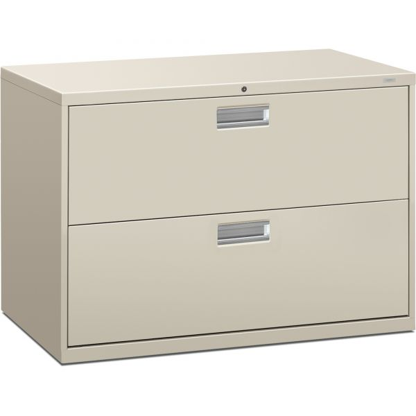 HON 600 Series Two-Drawer Lateral File, Letter/Legal/A4, 42w x 19-1/4d, Light Gray