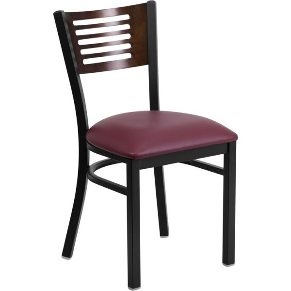 Flash Furniture Decorative Slat Back Metal Restaurant Chair