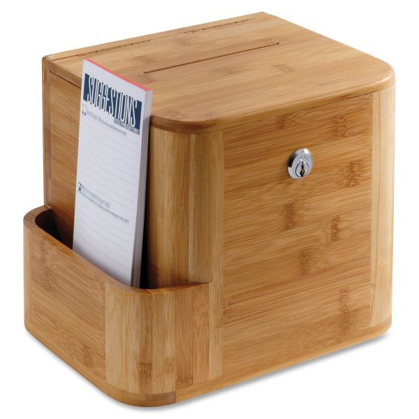Safco Bamboo Suggestion Box, 10 x 8 x 14, Natural