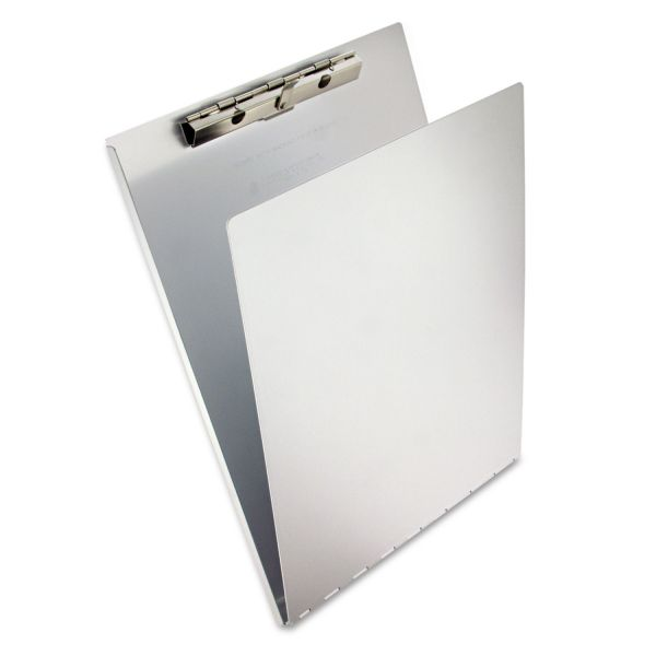 "Saunders Aluminum Clipboard w/Writing Plate, 1/2"" Clip Cap, 8 1/2 x 12 Sheets, Silver"