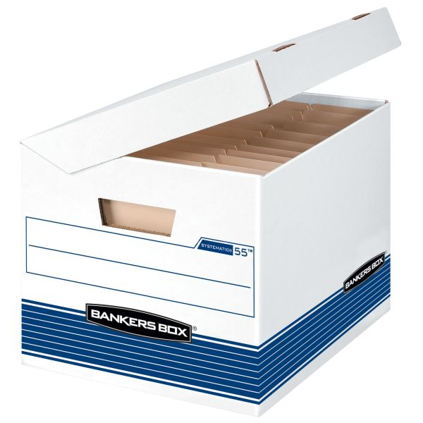 Bankers Box Systematic Medium-Duty Strength Storage Boxes With Flip-Top Lids