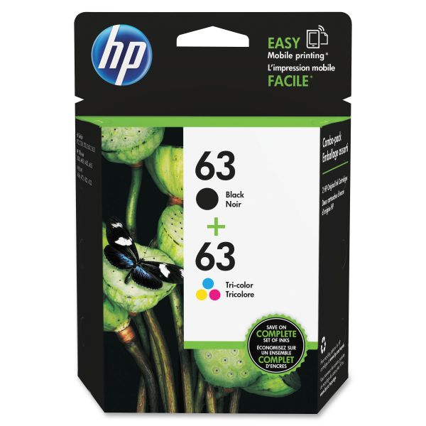 HP 63 Black/Color Combo Pack Ink Cartridges (L0R46AN)