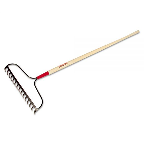 "UnionTools Bow Rake, 15 Curved Tines, 60"" Handle, Steel/Ash"