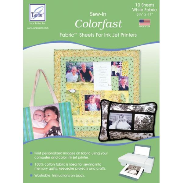 "Colorfast Sew-In Ink Jet Fabric Sheets 8.5""X11"" 10/Pkg"