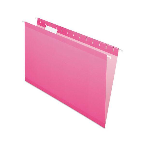 Pendaflex Reinforced Hanging Folders, 1/5 Tab, Legal, Pink, 25/Box