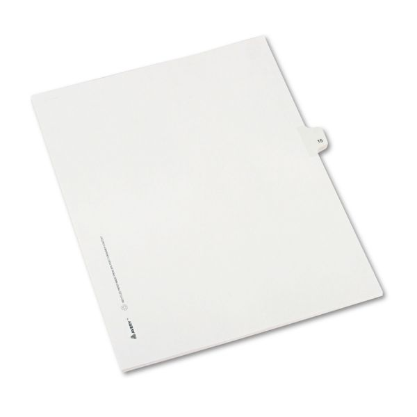 Avery Allstate-Style Legal Exhibit Side Tab Divider, Title: 15, Letter, White, 25/Pack
