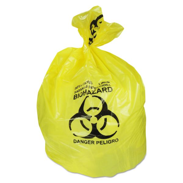 Heritage Healthcare Biohazard Can Liners, 20-30 gal, 1.3mil, 30 x 43, Yellow, 200/CT