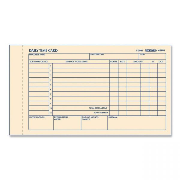 Rediform Daily Time Cards