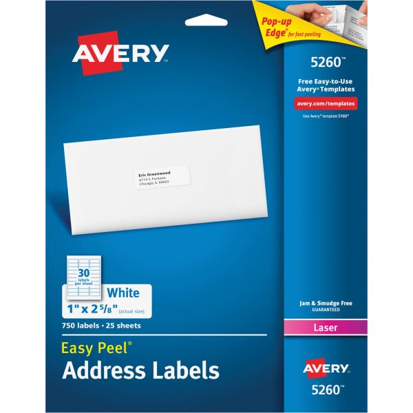 Avery 5260 White Easy Peel Address Labels