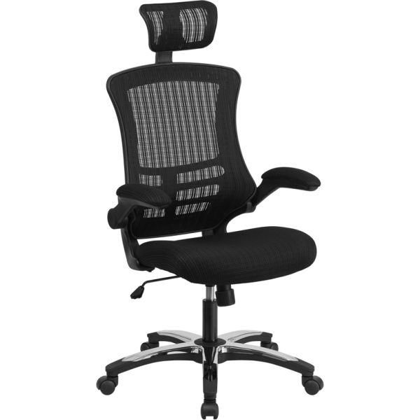 Flash Furniture High Back Mesh Executive Office Chair with Flip-Up Arms and Chrome-Nylon Designer Base