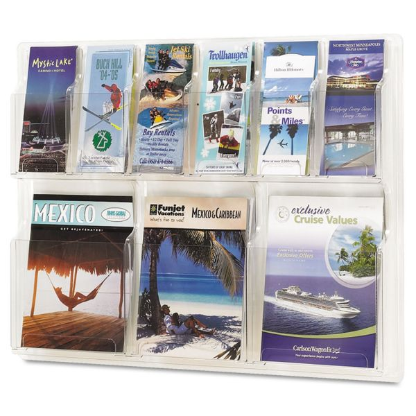 Safco Reveal Clear Literature Displays, Nine Compartments, 30w x 2d x 22-1/2h, Clear