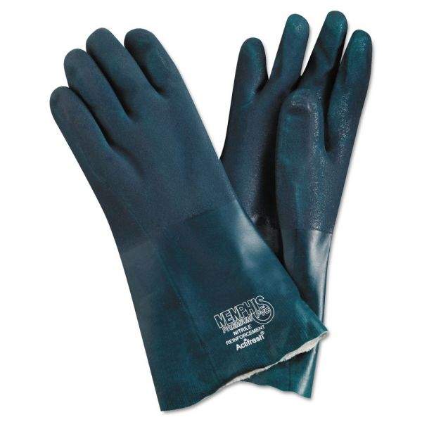 "Memphis Premium Chemical-Resistant PVC Gloves, 14"" Length, Large, Green, 12 Pairs"