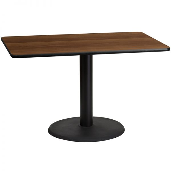 Flash Furniture 30'' x 48'' Rectangular Walnut Laminate Table Top with 24'' Round Table Height Base